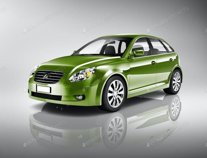 Three-Dimensional Shape Green Sedan Studio Shot