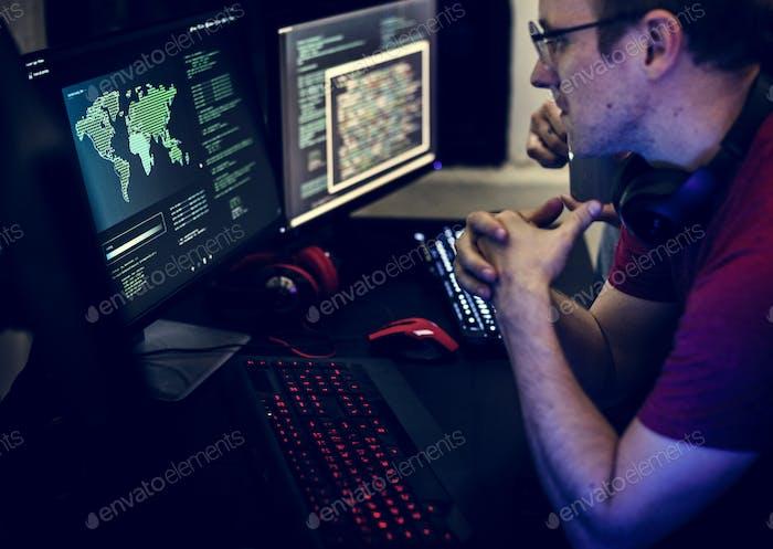 Programmers working on computer program