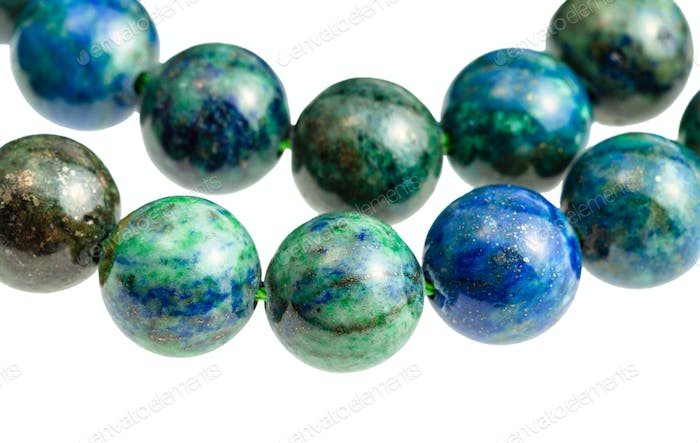 two strings from azurite with malachite balls
