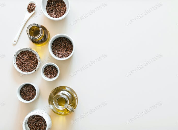 flax seeds and flaxseed oil on white