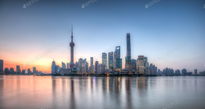 Pudong skyline at sunrise