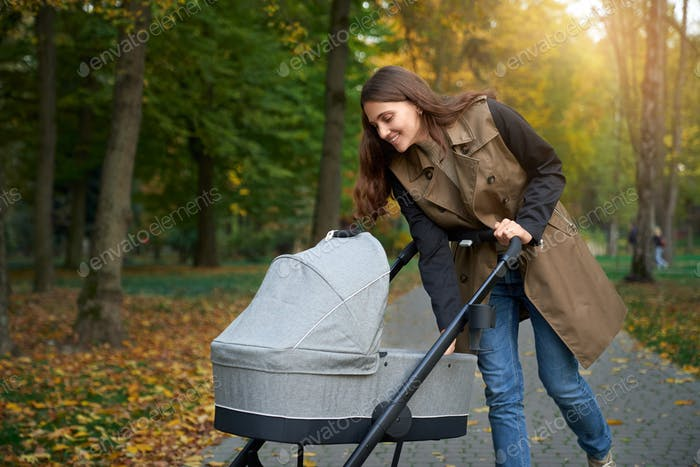 Woman with brown curls smiling to baby lying in a stroller