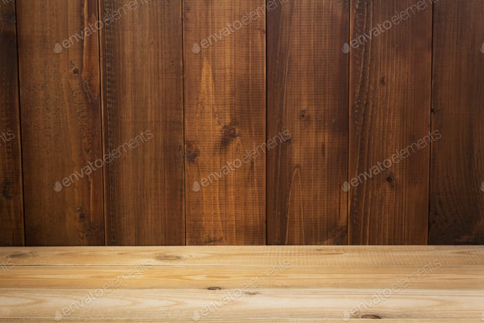 empty wooden table in front