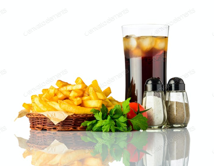 Fried Potatoes with Cold Ice Cola On White Background