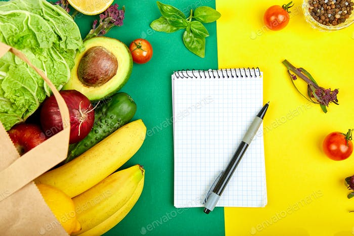 Thumbnail for Shopping list, recipe book, diet plan. Grocering concept.