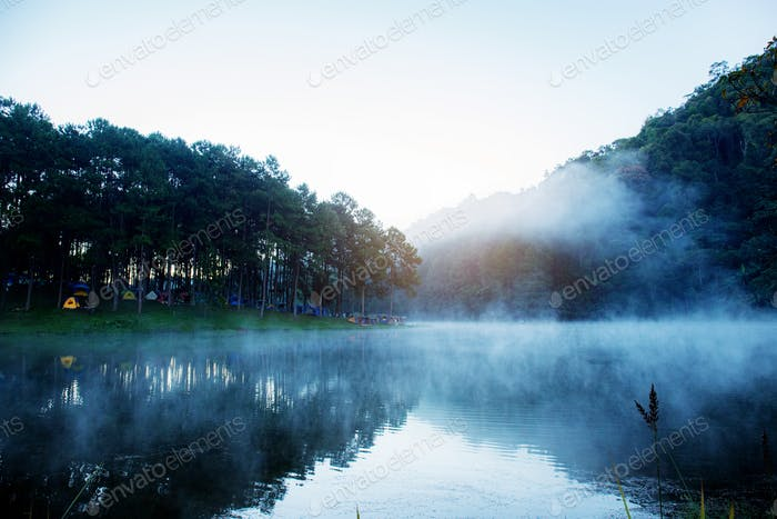 Pang oung reservoir with fog