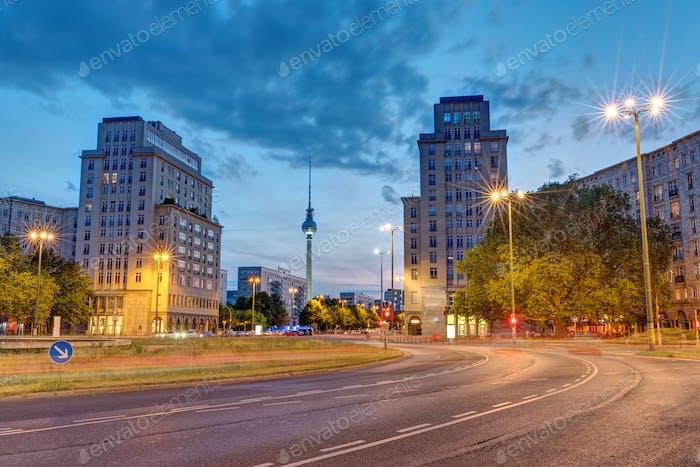 The Strausberger Platz in Berlin at dusk