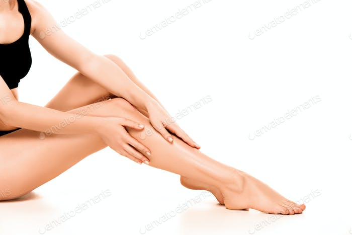 Beautiful smooth and shaved woman's legs.