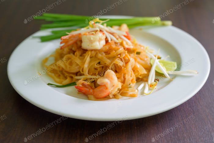 Pad Thai Noodles Thai Food Served On White Plate