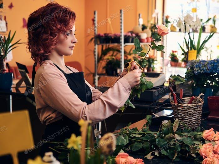 Charmante Rothaarige weibliche Blumenhändler
