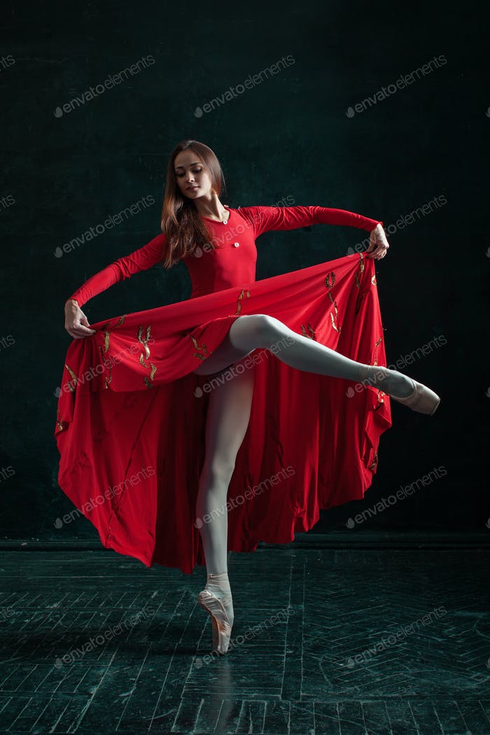 Ballerina posing in pointe shoes at black wooden pavilion
