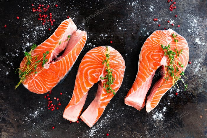 Salmon. Fresh salmon fish. Raw salmon fish steaks