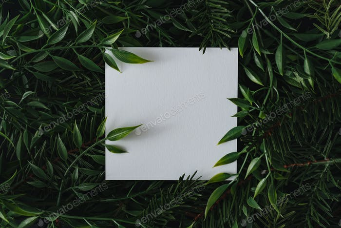 Creative winter layout made of branches and leaves with paper card note. Flat lay. Nature concept