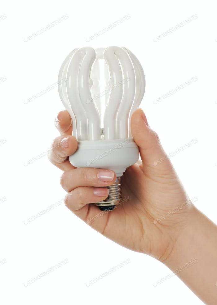 Hand with lamp bulb