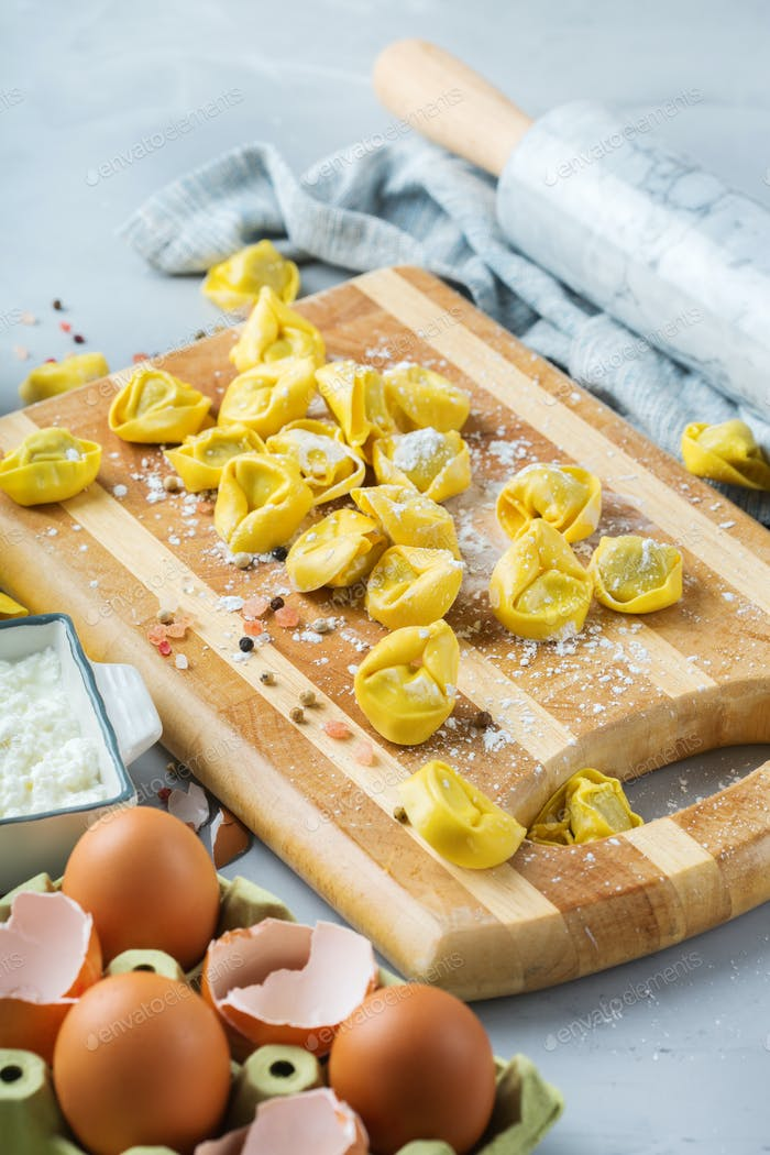 Italian food and ingredients, handmade tortellini with ricotta