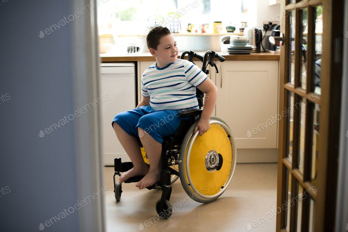 Young boy in a wheelchair