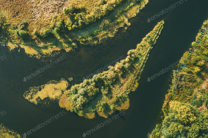 Aerial View Green Forest Woods On Small River Island In Summer Landscape.