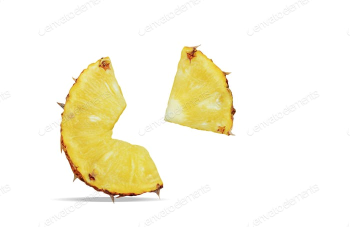 Pineapple of pieces on white background