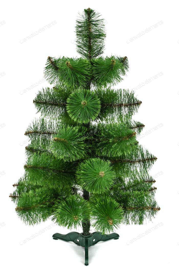 Artificial christmas tree, isolated on white background