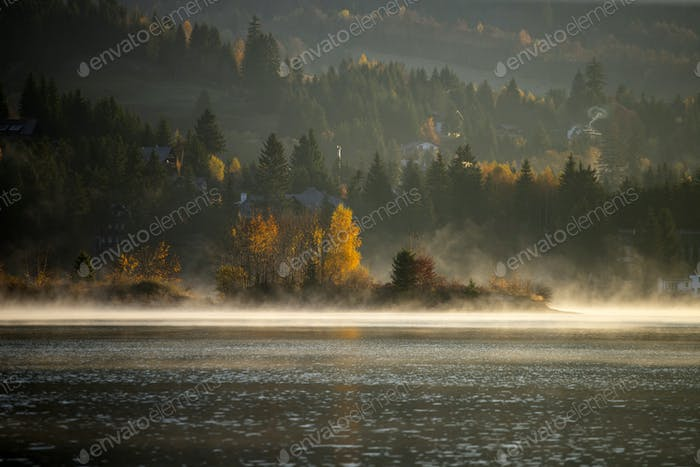 Lovely autumnal landscape with fog over the lake.