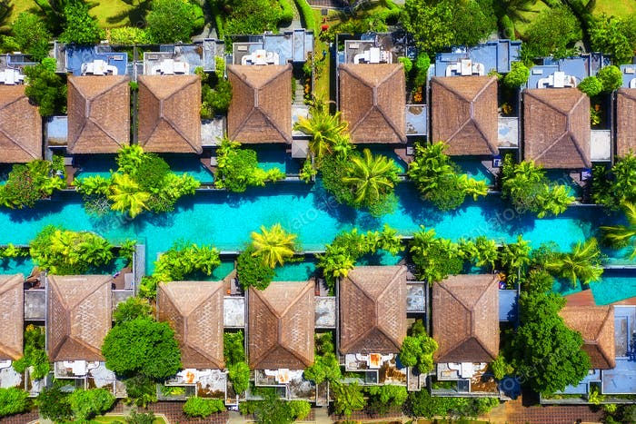 Landscape from the air in the Indonesia. Houses and pool