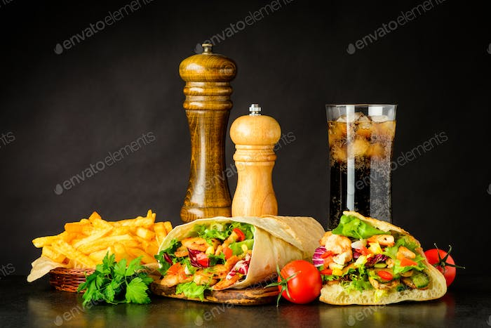 Fast Food with Shawarma, Kebap and Cold Cola