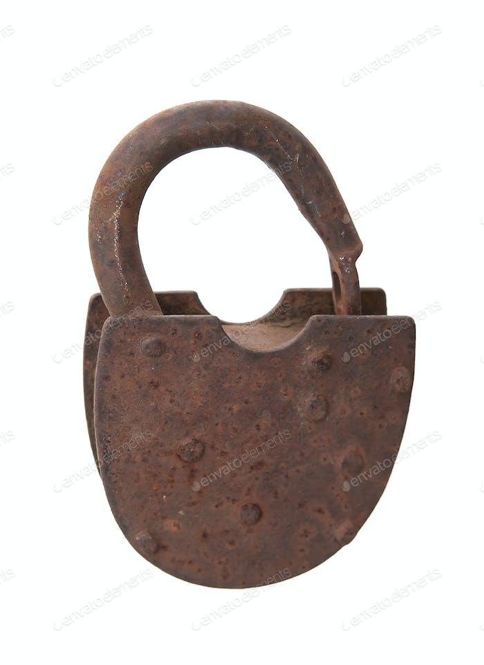 rusted open padlock