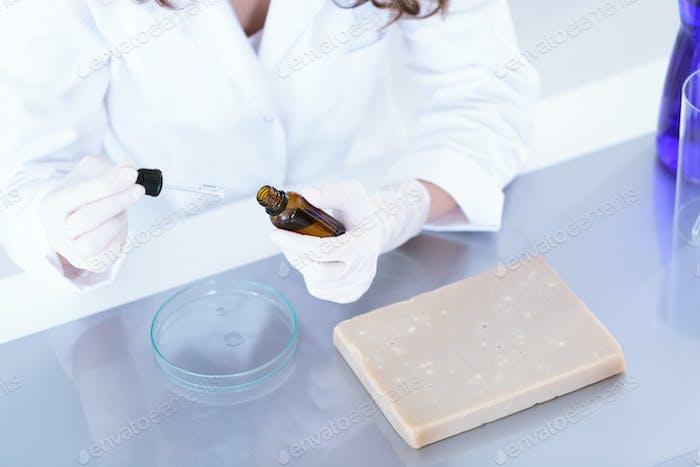 Laboratory worker preparing a sample