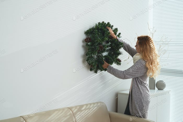 Hanging Christmas wreath