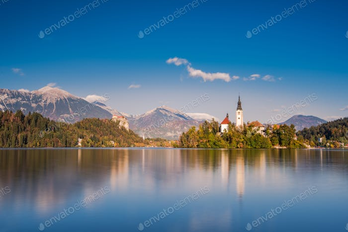 Church on island of lake Bled, long exposure, Slovenia