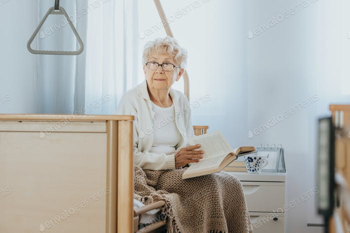 Lonely woman in nursing home