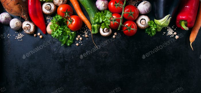 Food background with different vegetables