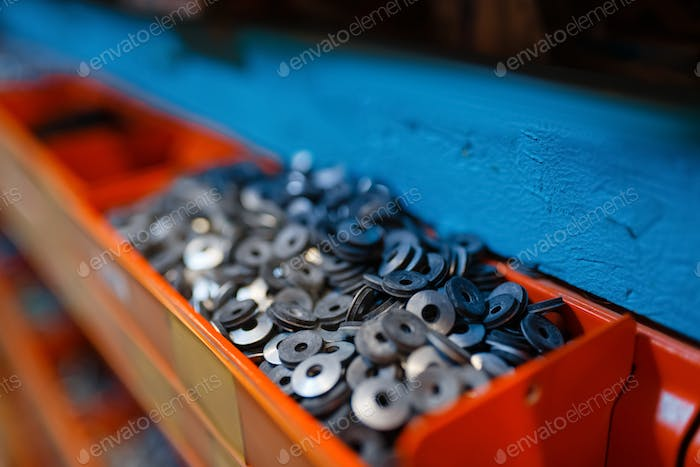Box with washers in hardware store closeup view