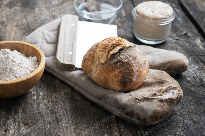 Naturaleza muerta con pan de masa madre hecho en casa pan pan