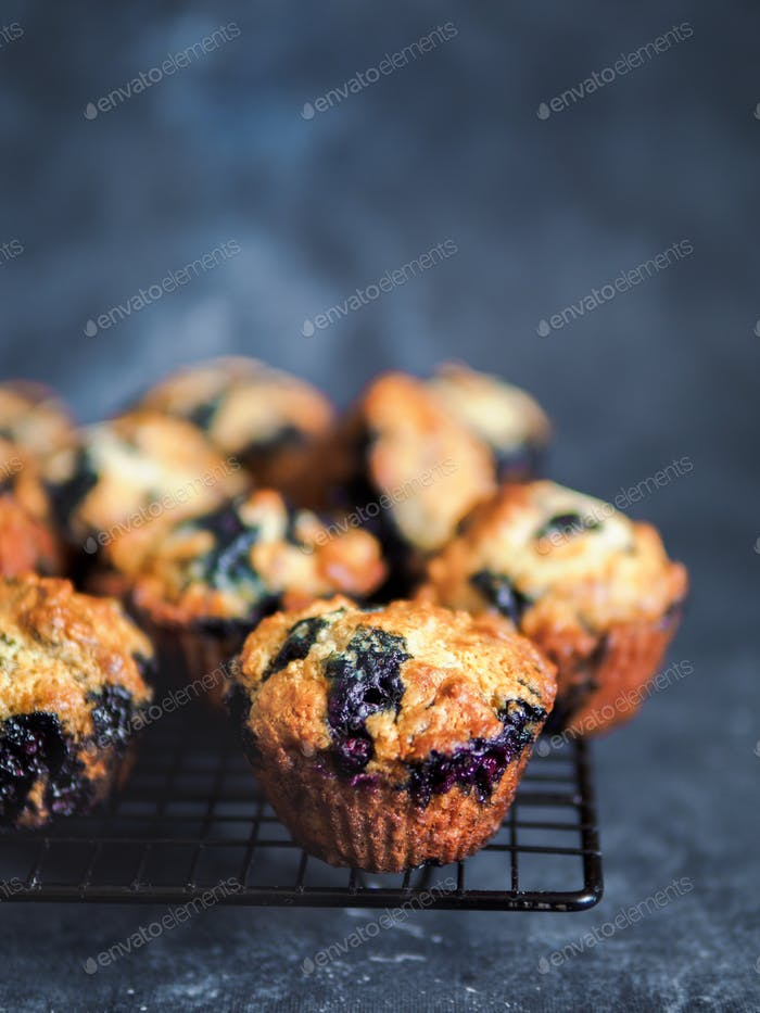 Hausgemachte Heidelbeer-Muffins auf dunklem Hintergrund
