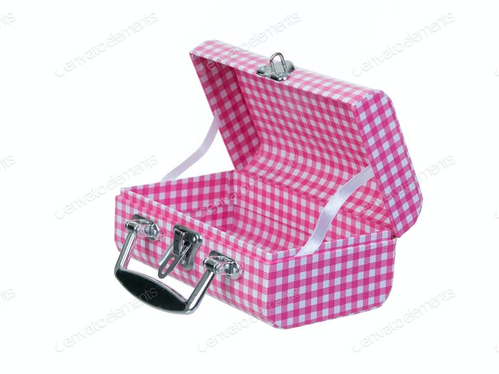 Open pink plaid lunch box isolated on white background