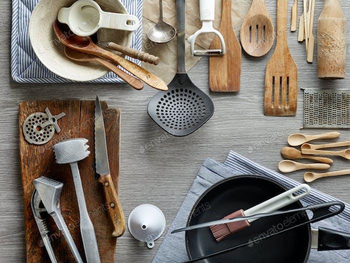 various kitchen utensils