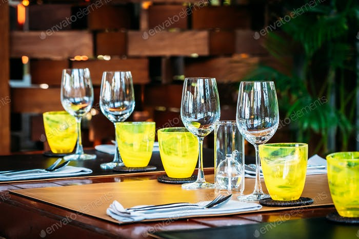 Wine glass with dining set prepare for breakfast lunch or dinner