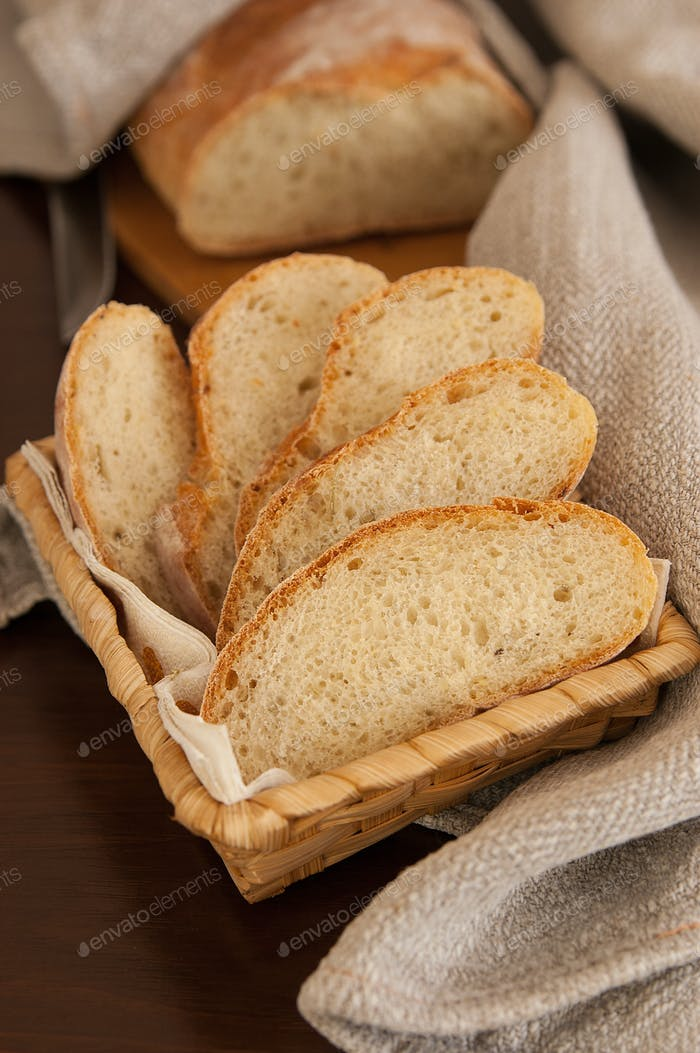 Homemade bread in a basket