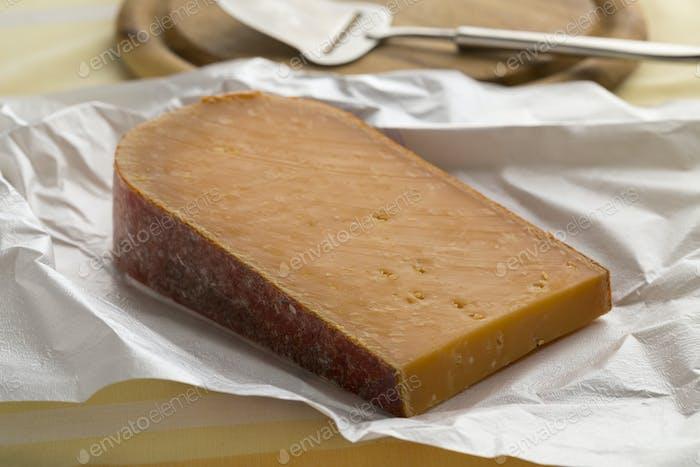 Piece of Dutch mature Gouda cheese