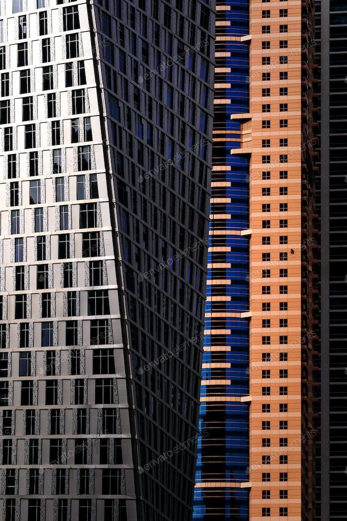 Detail of world tallest residential buildings. Dubai marina, United Arab Emirates.