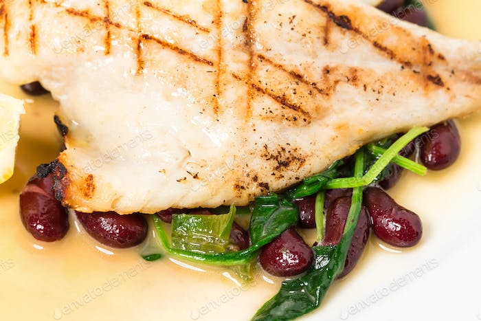 Delicious baked dorado fillet with chard.