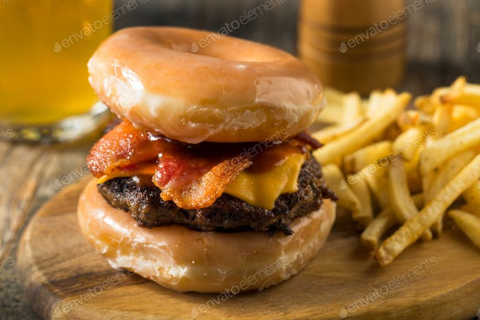 Homemade Donut Cheeseburger with Fries