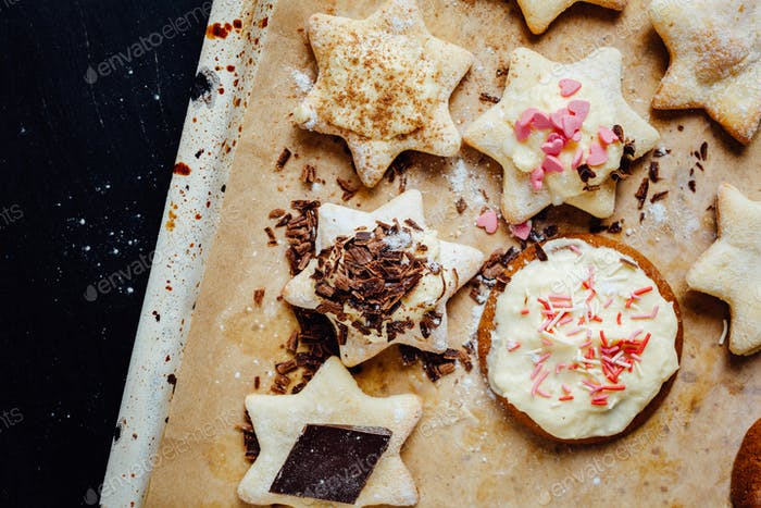 Tasty homemade cookies with different toppings