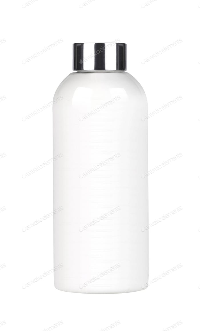 White plastic cosmetic bottle isolated on white