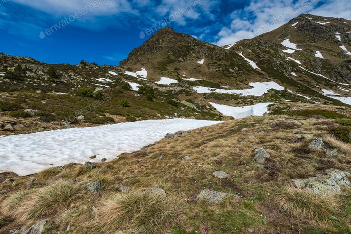 High peaks in Andorra Pyrenees at spring