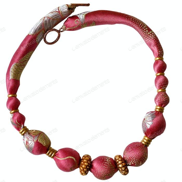 pink silk beads