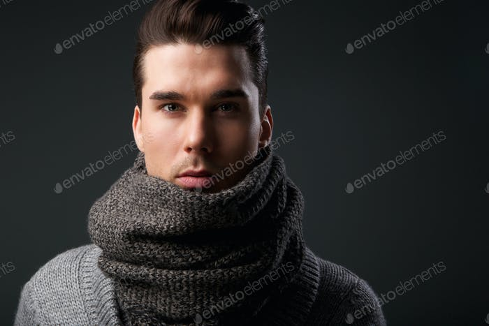 Cool guy with gray wool scarf