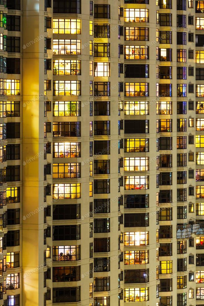 Exterior of apartment building at night