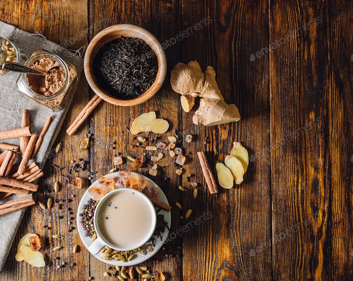 Ingredients for Masala Chai and Cup with Beverage